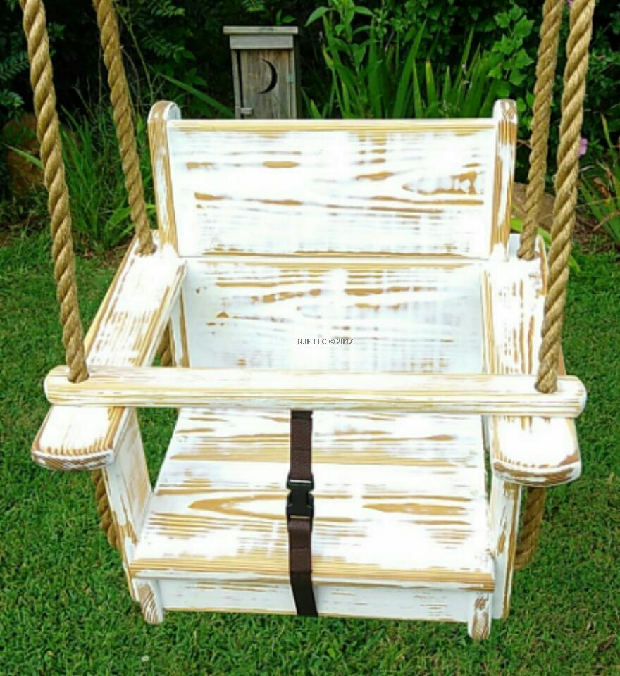 Kids Seat Swing-Distressed in White