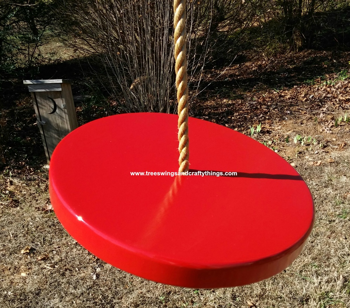 Red Painted Disc Tree Swing
