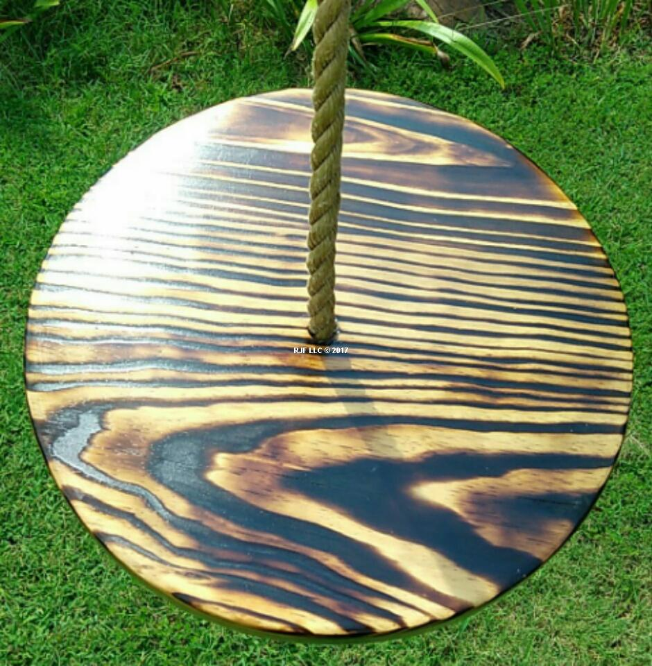 Charred Disc Wood Tree Swing