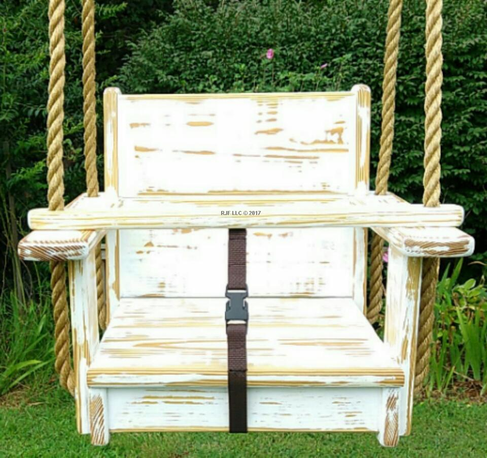 Distressed Seat Swing (White)