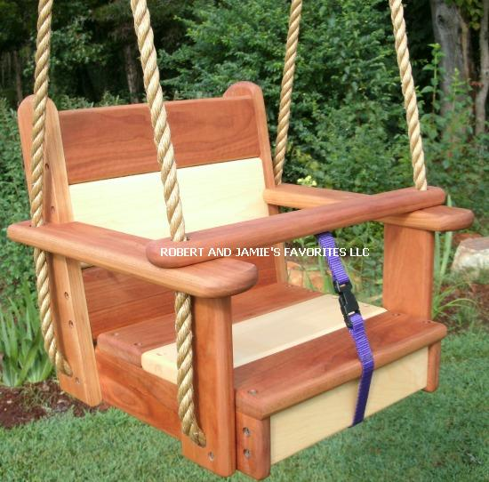 Premium Kids Cherry Maple Seat Swing