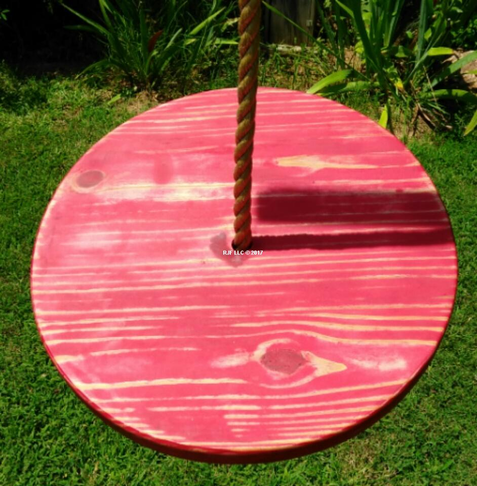 Distressed Red Disc Tree Swing