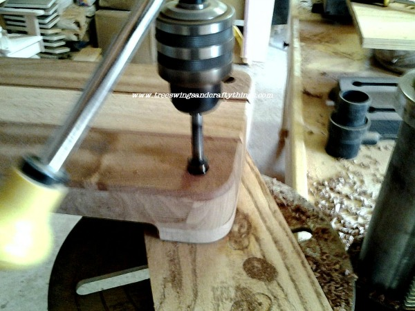 Drilling hole in swing